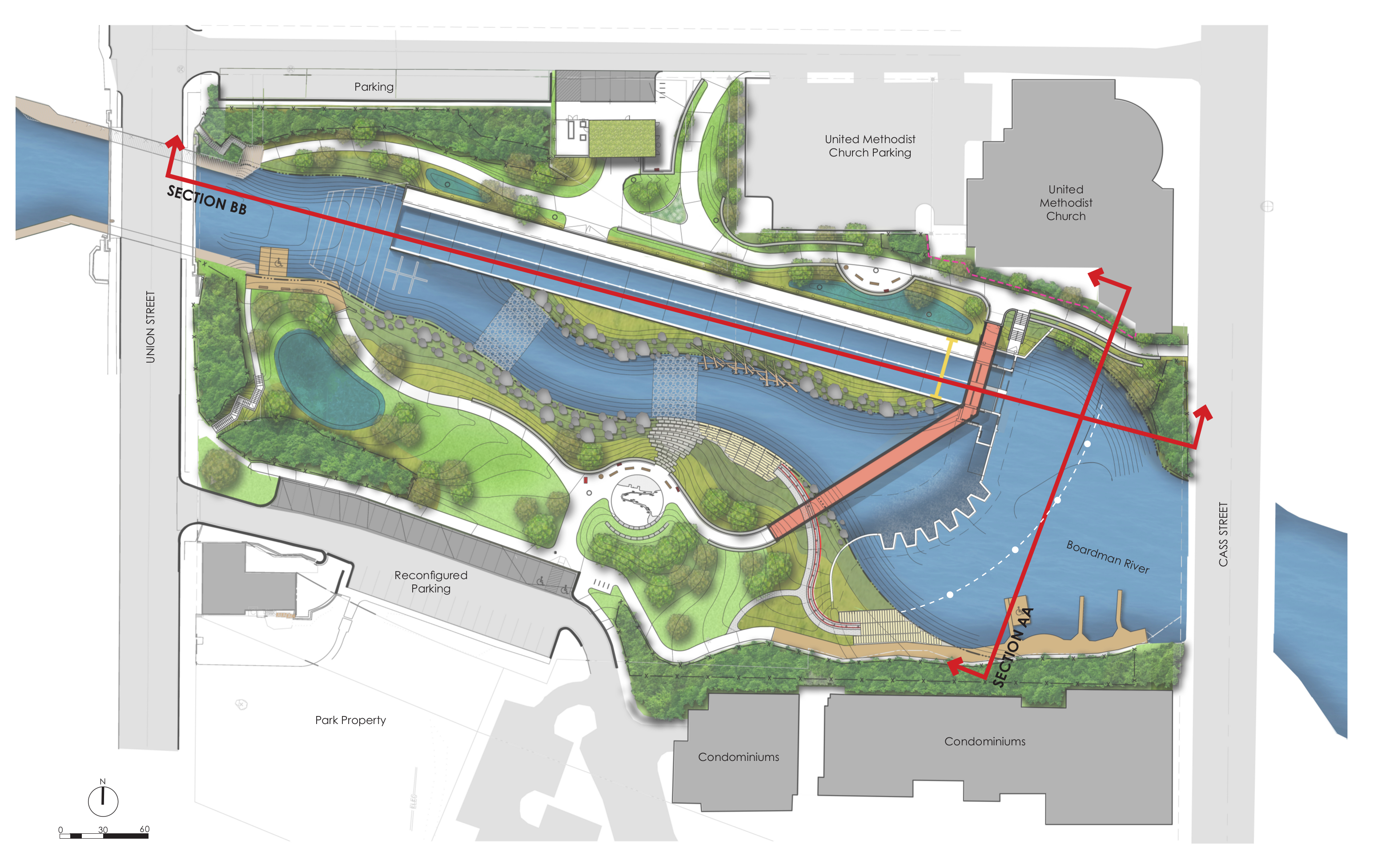 A top down rendering of the Boardman River after the FishPass project